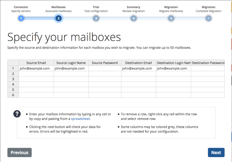 specify mailboxes spreadsheet