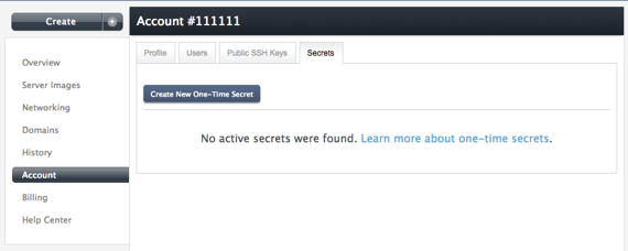 one-time secret home page