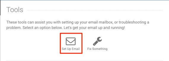 setup email link highlighted
