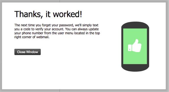 sms recovery setup success