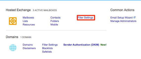 user spam filter settings highlighted