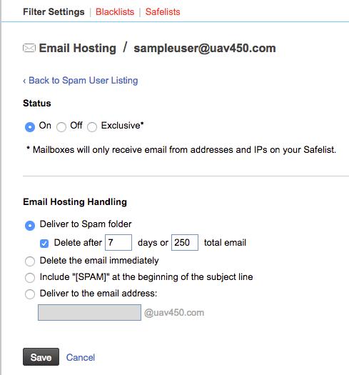 user spam settings