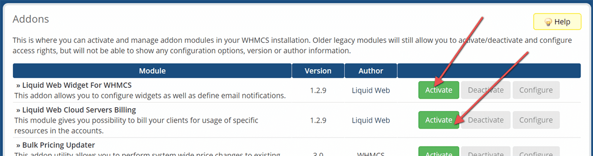 Activate 'Liquid Web Storm Servers Billing'and 'Liquid Web Widget for WHMCS'