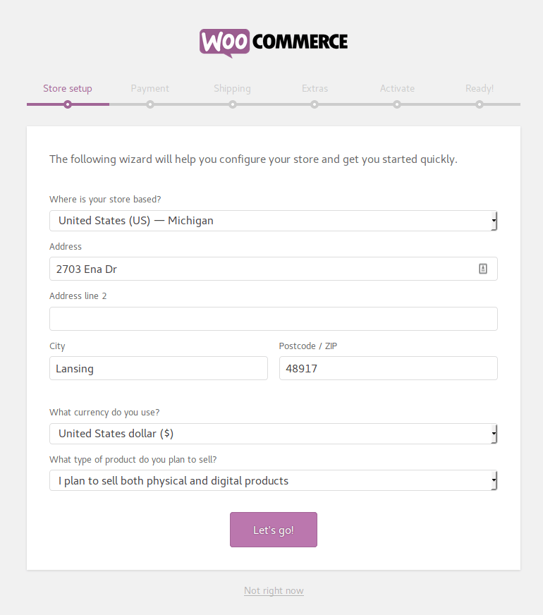 Screenshot of WooCommerce setup wizard
