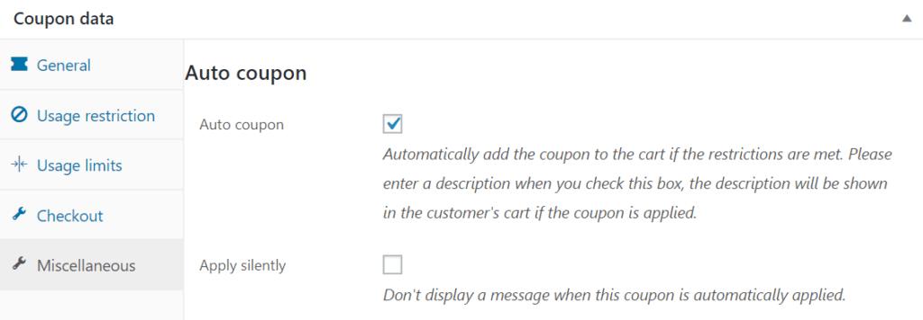 Auto coupon settings