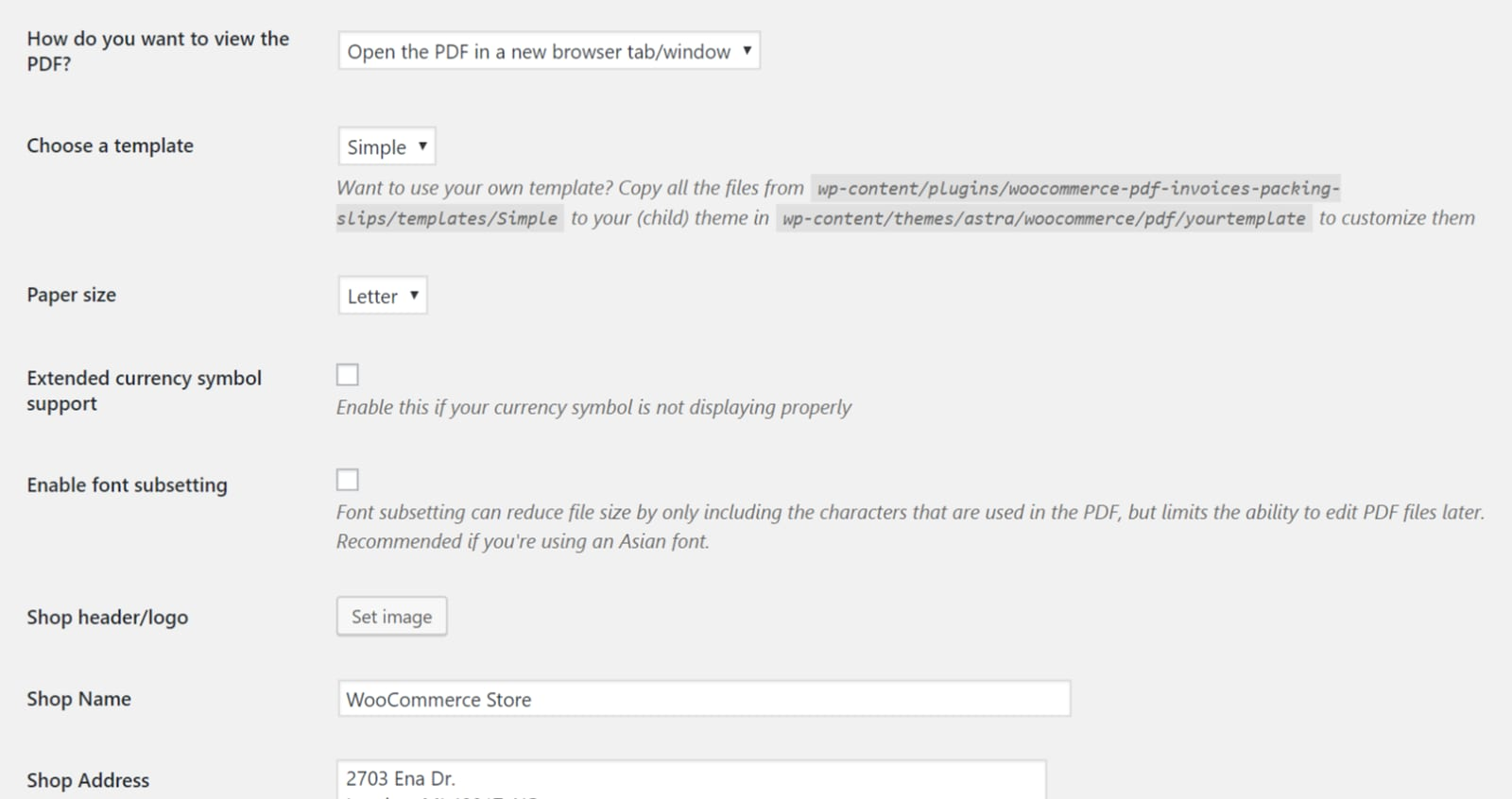 WooCommerce PDF Invoices & Packing Slips General tab