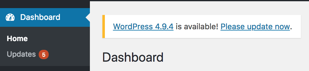 wordpress admin dashboard update section