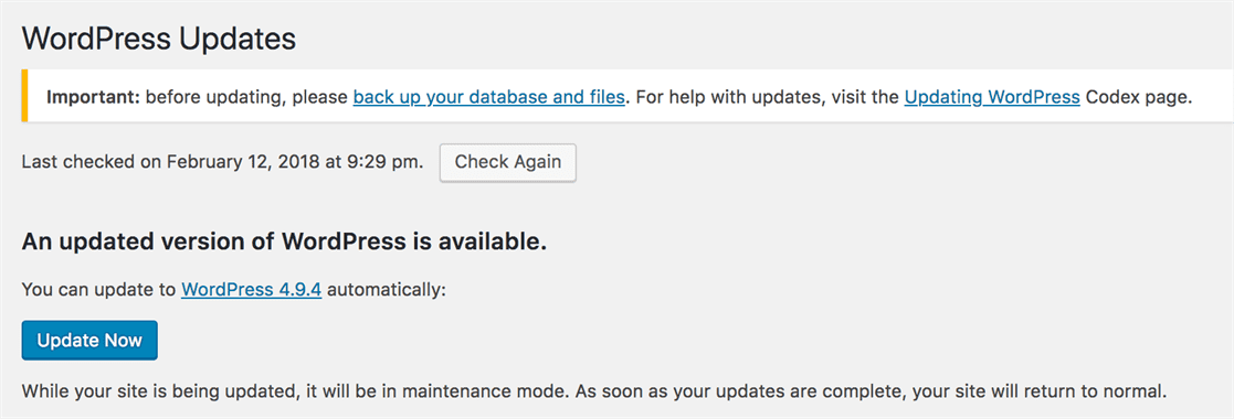 wordpress update home page, click update now