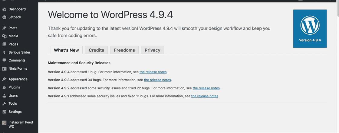 wordpress 4.9.4 updated successfully