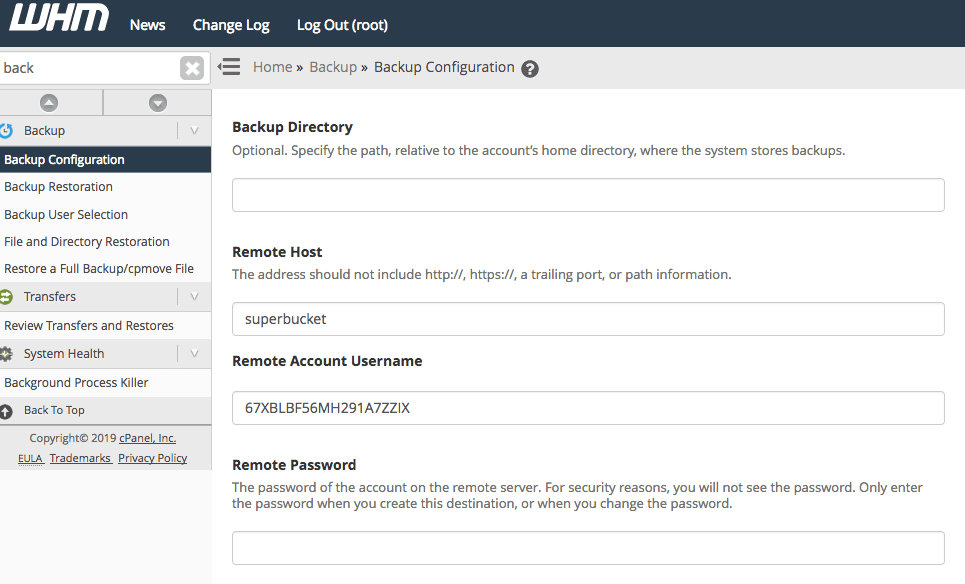 Configure Object Storage in WHM by editing these fields.