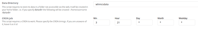 By default the field is populated with whmcsdata
