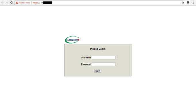 Open a web browser to your server's IPMI address