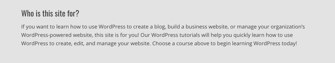Liquid Web - Think about who this WordPress site is for