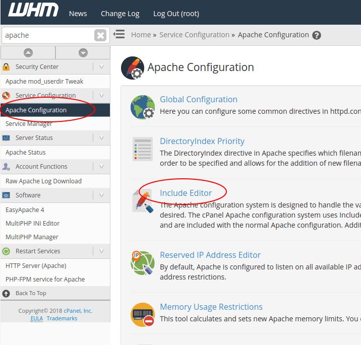 Service Configuration → Apache Configuration → Include Editor