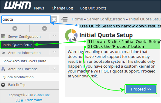 cPanel Initialize Quota Setup