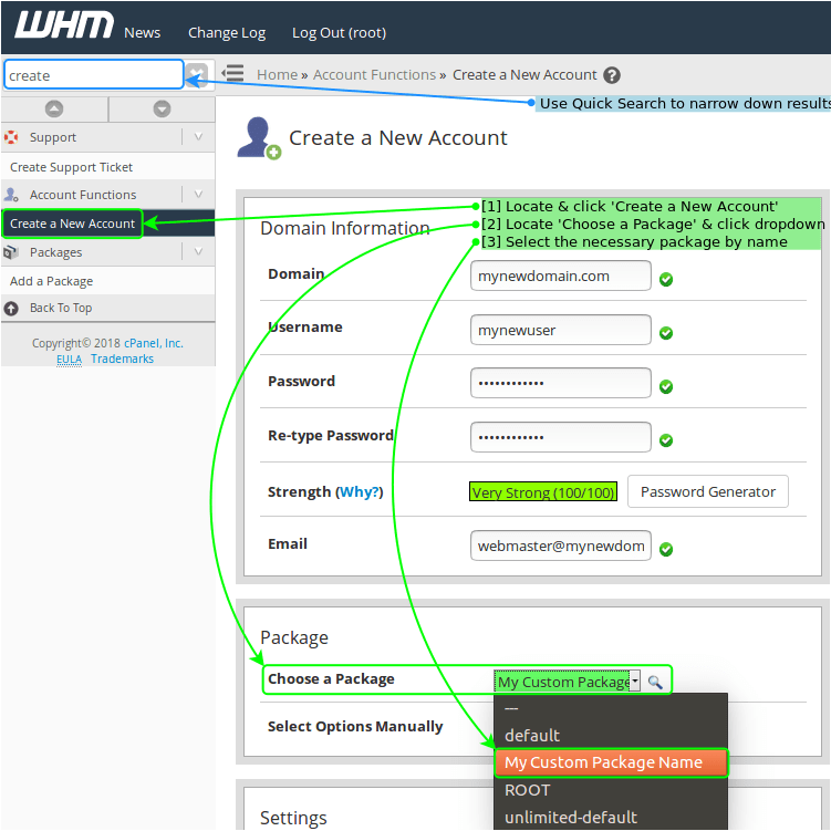 Package Selection at Account Creation