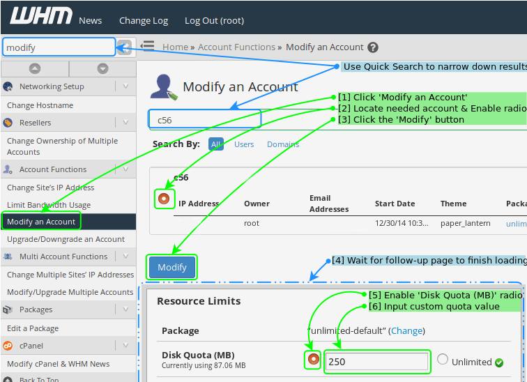 Packageless Quota Using 'Modify an Account'