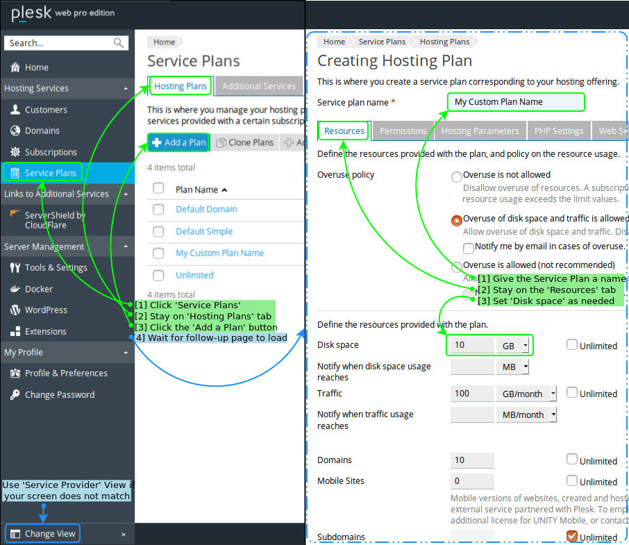 Creating a Service Plan in Plesk