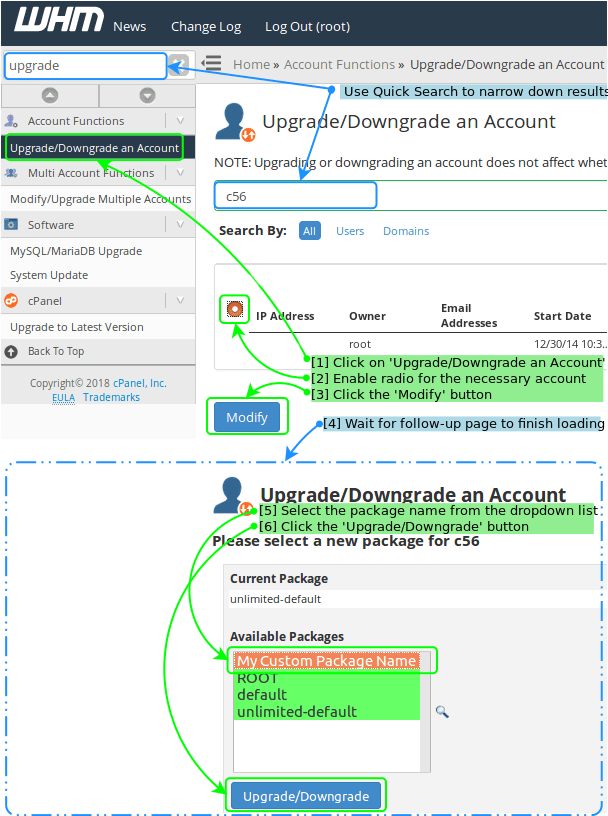 Package Selection Using 'Upgrade/Downgrade an Account'