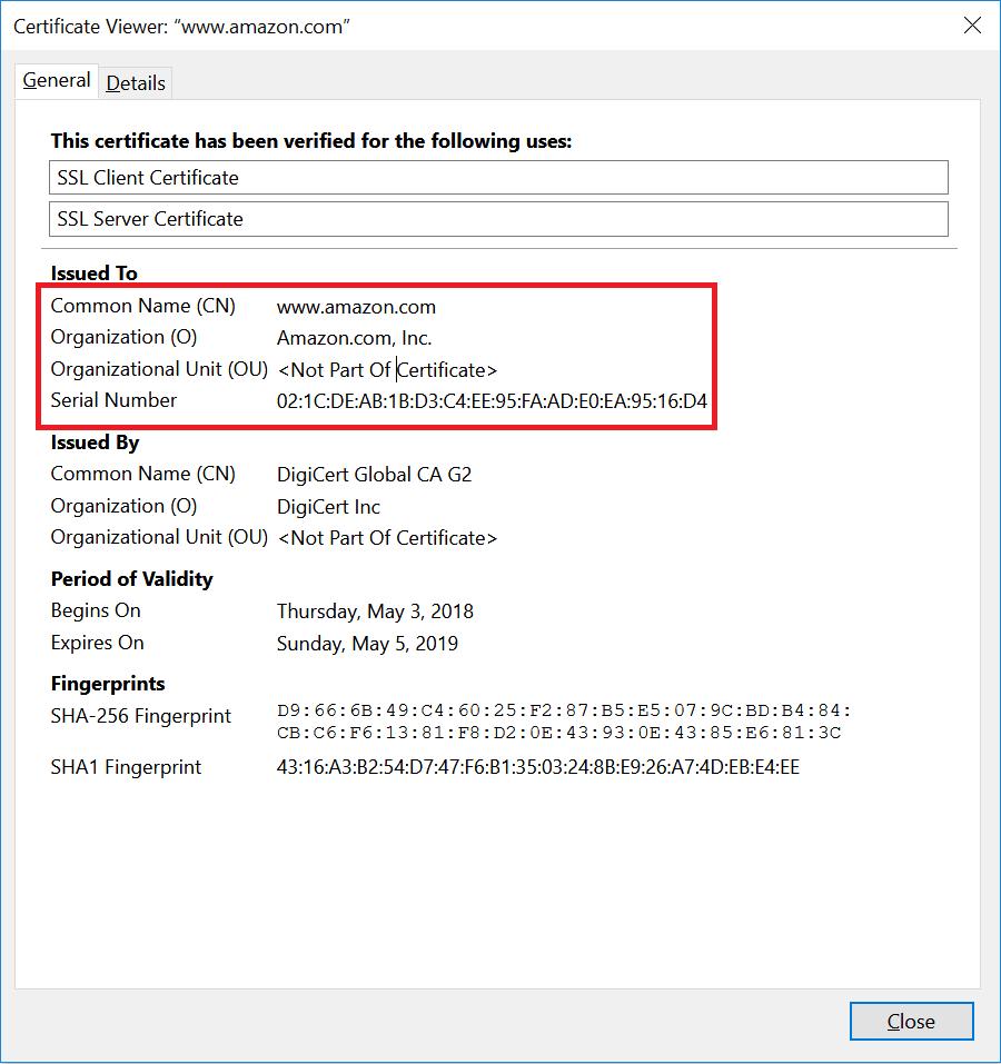 SSL Certificates - OV SSL Certificate Viewer of Amazon.com