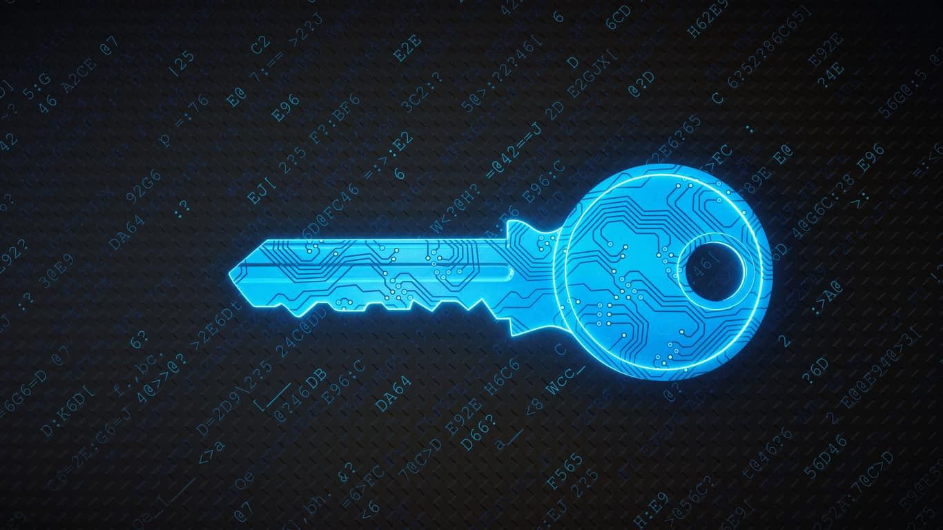 blue digital key in a cyber environment.