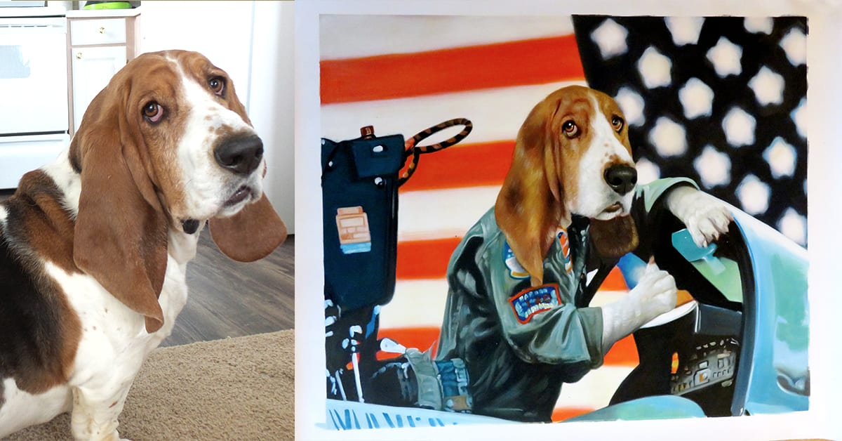 splendid beast custom art - picture of dog painted in a fighter jet