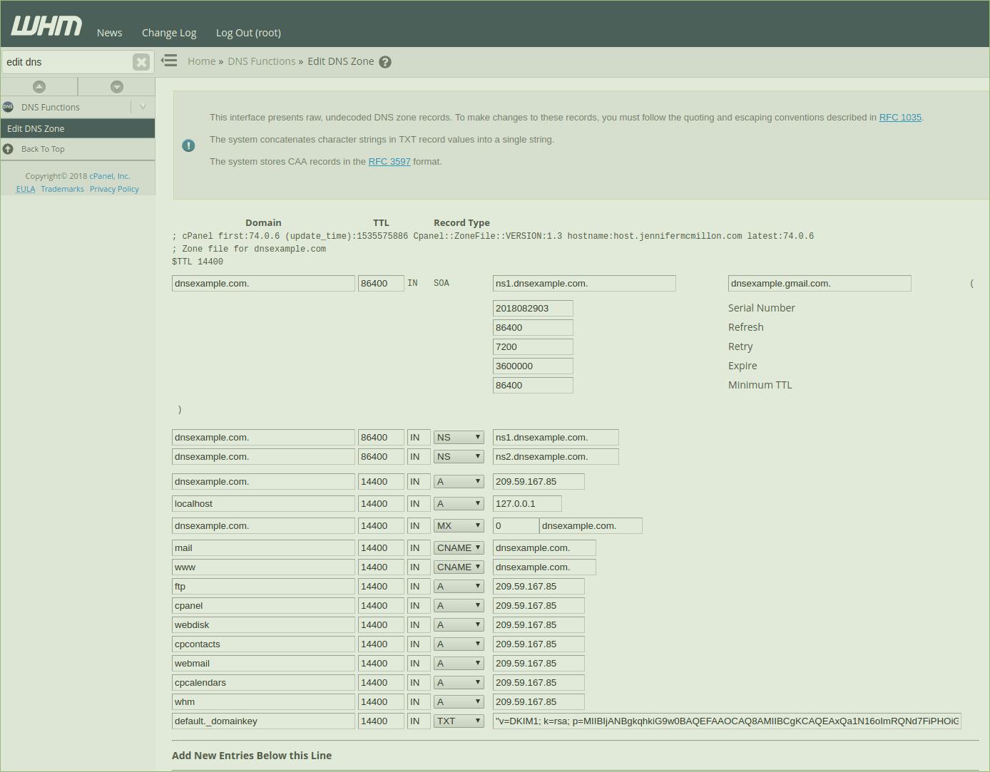DNS Zone in WHM