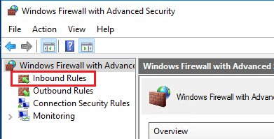 Inbound Firewall Rules section