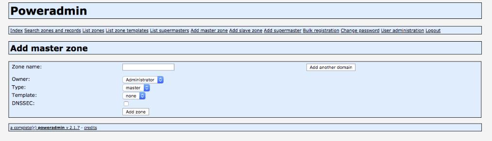 Adding a Master Zone in Poweradmin