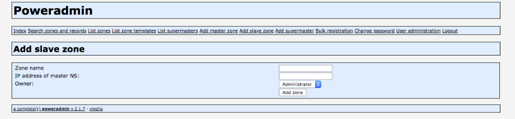 adding a secondary zone in poweradmin