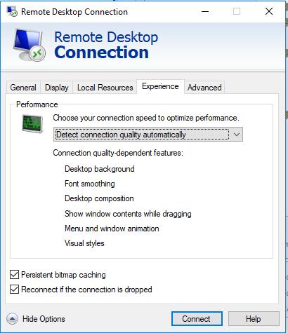 Remote Desktop Connection Settings