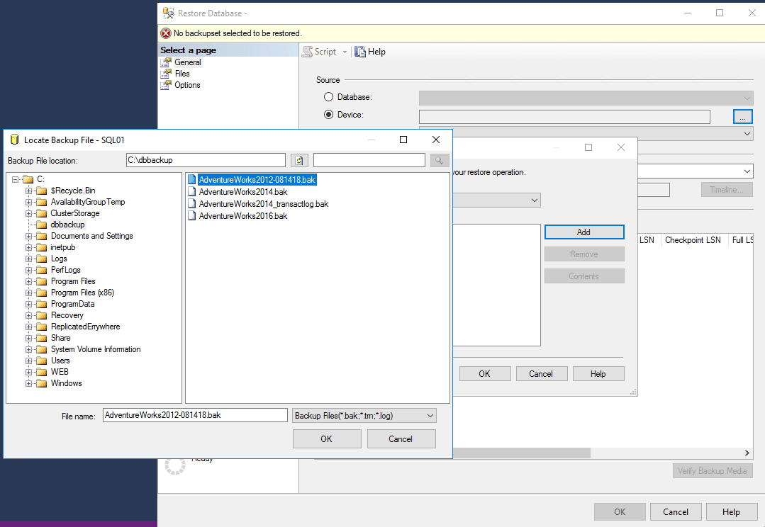 Select the .bak file to import your database into the destination server via SSMS.