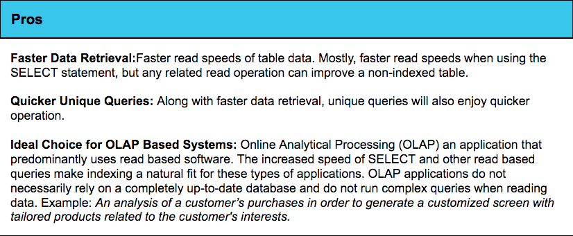 quick data transmissions and ideal for OLAP.