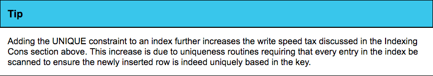 UNIQUE constraints increase write speeds, a taxation of implementation.