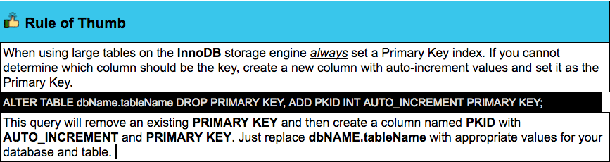 Primary Key Index is absolutely necessary for large tables.