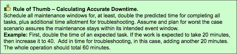 When calculating MySQL maintenance windows, double your estimated calculation plus 20 mins.