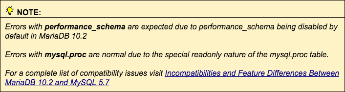 performance_schema and mysql.pc are normal errors when updating MySQL.