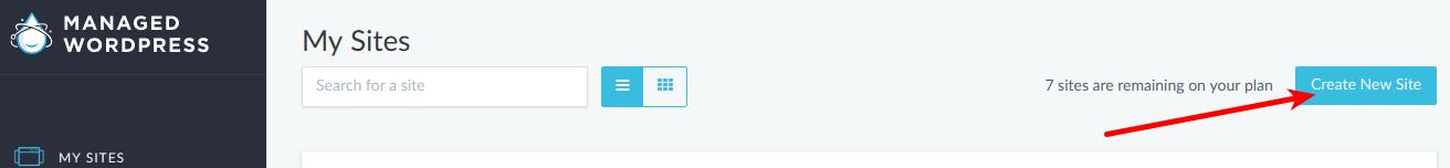 Create New Site button