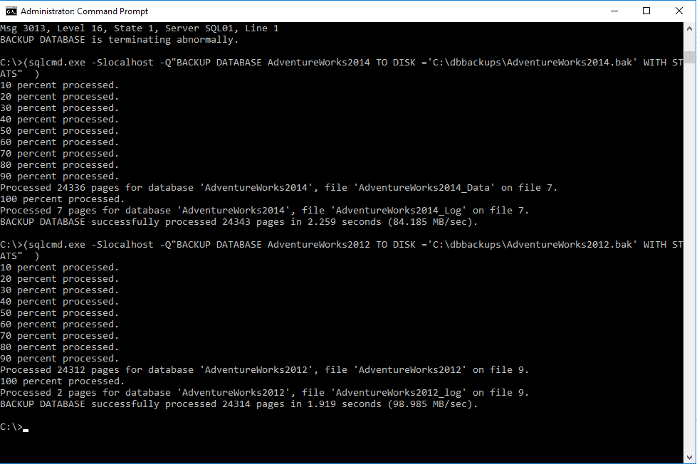 Command line shows the process of each database that is exported.