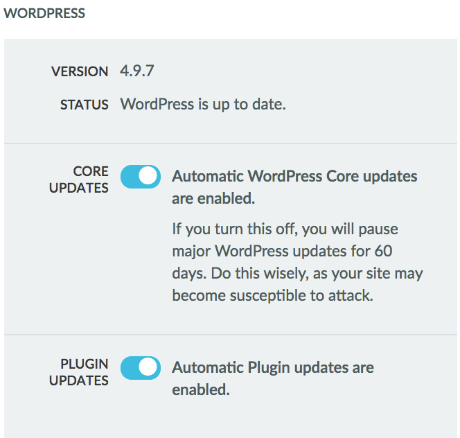 In Managed WordPress you can toggle on and off automatic updates.