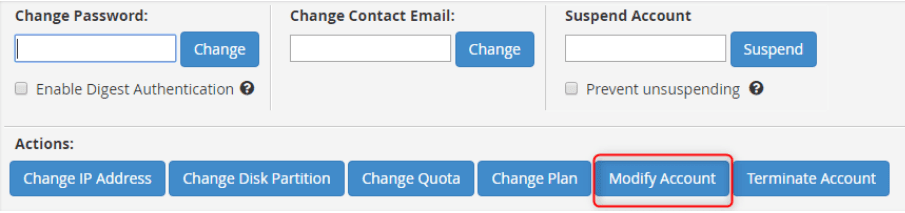 The 'modify account' button changes the primary domain in WHM.