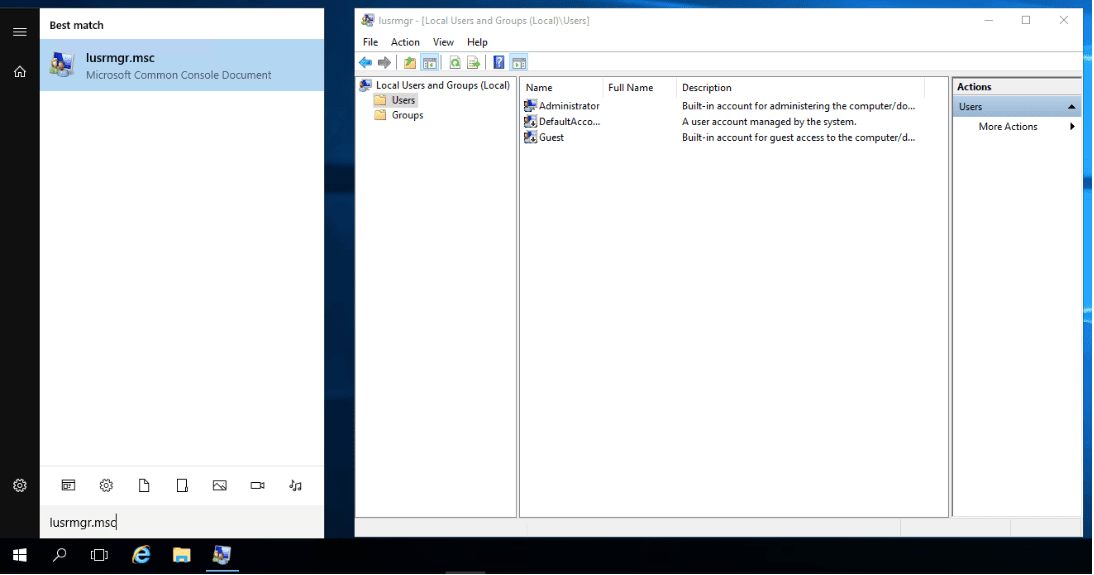 Within a windows server type in lusrmgr.msc into the search bar to locate Users where you can find existing users and groups.