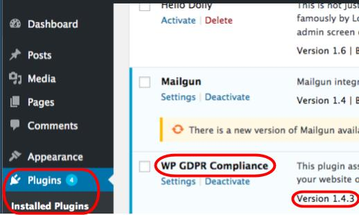 Indentify if you are vulnerable to WP GDPR by locating the plugins menu in WordPress.