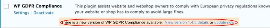 Update the WP GDPR plugin to avoid a hacked WordPress site.
