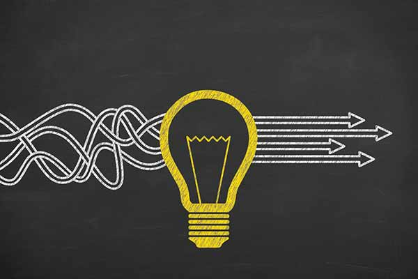 lines going through a lightbulb and becoming straight - organizing a content marketing plan