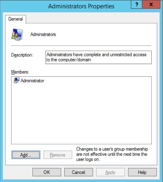 In a windows server the administrators properties pop up allow you to manage permissions and right assignments for multiple users at a time.