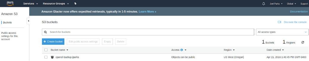 To store files in Amazon's S3 service you must first create a bucket.