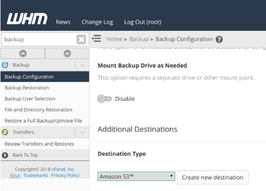 To configure your backups login to WHM and access Backup Configuration >> Additional Destinations.
