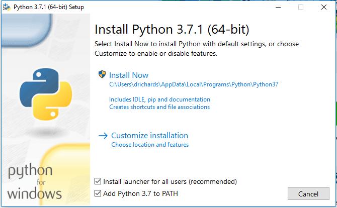 The installion screen of Python on a Windows server.