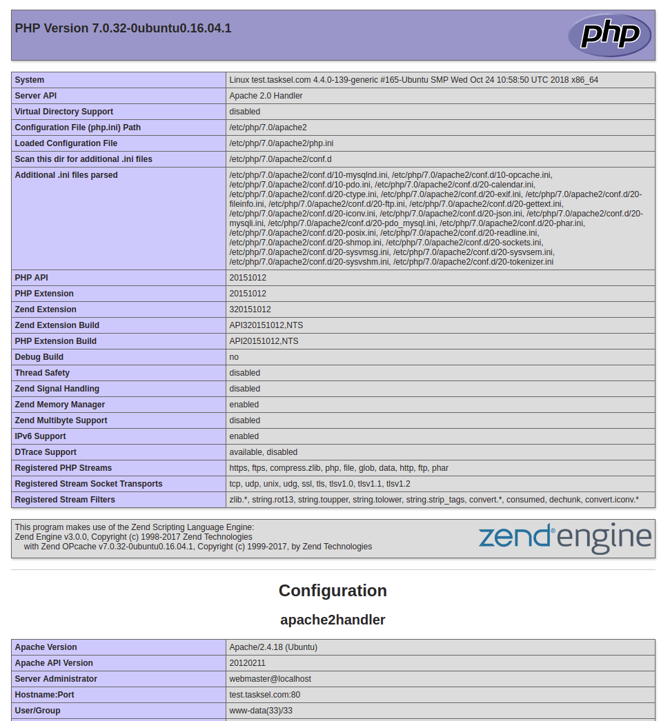 PHP Version page